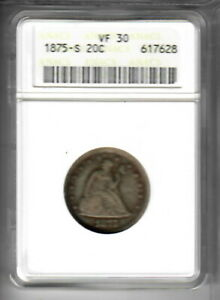 1875 S 20 CENT PIECE ANACS VF30