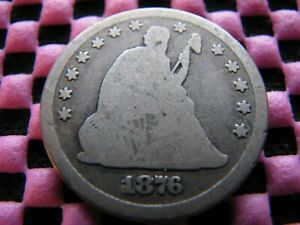 1876 CC SEATED QUARTER WITH REVERSE OF 1873 CC