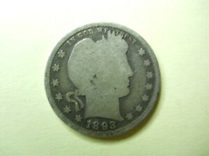 1893 S BARBER QUARTER SILVER 25C OVER 122 YEARS OLD AS SHOWN