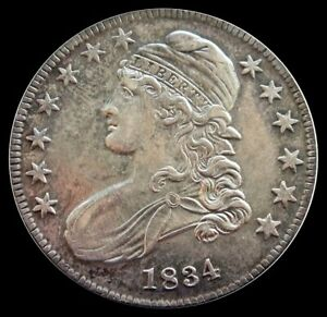 1834 SILVER UNITED STATES CAPPED BUST HALF DOLLAR ABOUT UNCIRCULATED