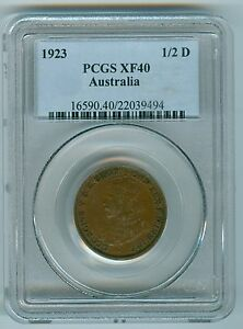 Click now to see the BUY IT NOW Price! AUSTRALIA 1923 HALF PENNY  PCGS XF40  KEY DATE