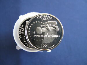 Click now to see the BUY IT NOW Price! 2002 S INDIANA STATEHOOD SILVER QUARTER PROOF ROLL OF 40 COINS
