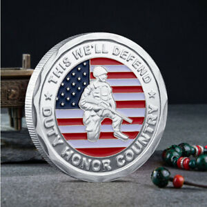 US CHALLENGE COMMEMORATIVE COIN COLLECTIBLE MILITARY ARMY VETERAN PROUDLY SERVED