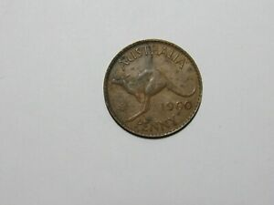 OLD AUSTRALIA COIN   1960 PENNY KANGAROO   DISCOLORED SCRATCHES RIM DINGS