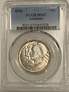 Click now to see the BUY IT NOW Price! ARKANSAS 1935 50C SILVER COMMEMORATIVE PCGS MS67