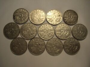 D CANADA GEORGE V 1922   1936 FIVE CENTS   LOT OF 13 COINS