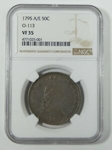 1795 A OVER E FLOWING HAIR HALF DOLLAR CERTIFIED NGC VF 35 SILVER 50C   O 113