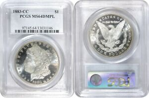 1883 CC MORGAN SILVER DOLLAR PCGS MS64 DMPL GREAT MIRRORS & FROSTY DEVICES