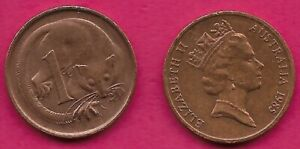 AUSTRALIA 1 CENT 1985 FEATHER TAILLED GLIDER ELIZABETH II CROWNED HEAD RIGHT VAL