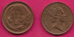AUSTRALIA 1 CENT 1988 FEATHER TAILLED GLIDER ELIZABETH II CROWNED HEAD RIGHT VAL
