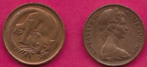 AUSTRALIA 1 CENT 1969 FEATHER TAILLED GLIDER ELIZABETH II CROWNED HEAD RIGHT VAL