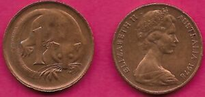 AUSTRALIA 1 CENT 1978 FEATHER TAILLED GLIDER ELIZABETH II CROWNED HEAD RIGHT VAL