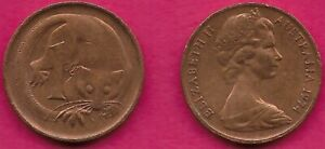 AUSTRALIA 1 CENT 1974 FEATHER TAILLED GLIDER ELIZABETH II CROWNED HEAD RIGHT VAL