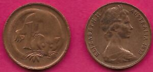 AUSTRALIA 1 CENT 1973 FEATHER TAILLED GLIDER ELIZABETH II CROWNED HEAD RIGHT VAL