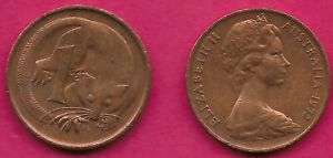 AUSTRALIA 1 CENT 1972 FEATHER TAILLED GLIDER ELIZABETH II CROWNED HEAD RIGHT VAL