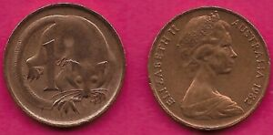 AUSTRALIA 1 CENT 1982 FEATHER TAILLED GLIDER ELIZABETH II CROWNED HEAD RIGHT VAL