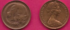 AUSTRALIA 1 CENT 1983 FEATHER TAILLED GLIDER ELIZABETH II CROWNED HEAD RIGHT VAL