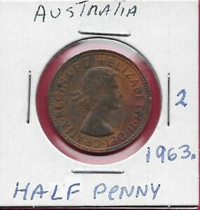 AUSTRALIA HALF PENNY 1963 WITH DOT.KANGAROO LEAPING RIGHT ELIZABETH II LAUREATE