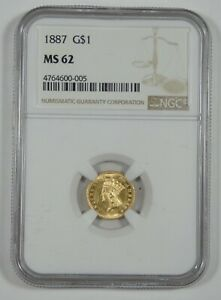 1887 GOLD INDIAN PRINCESS HEAD $1 COIN NGC MS 62   MINTAGE 7500