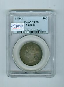 Click now to see the BUY IT NOW Price! CAN COIN: 50 CENTS 1890H GRADE VF 35 BY PCGS..CAT:$8700