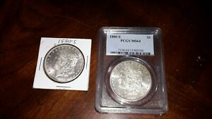 LOT OF 2 1880 S MORGAN SILVER DOLLARS   1  PCGS MS64   NICE  2  AU UNC