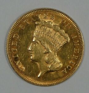 BARGAIN 1878 INDIAN PRINCESS HEAD $3 GOLD PIECE ALMOST UNCIRCULATED/UNC