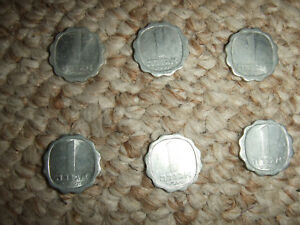 LOT OF 6 ISRAEL 1969 5729 1 AGORA KM 24.1 COINS