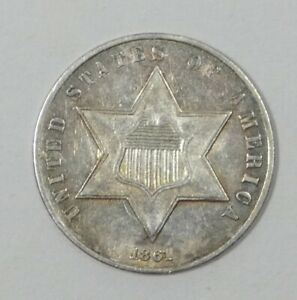 1861 SILVER THREE CENT PIECE ALMOST UNCIRCULATED 3C TRIME