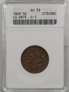 1849 BRAIDED HAIR HALF CENT   LG DATE C 1   ANACS AU 53 PREMIUM QUALITY