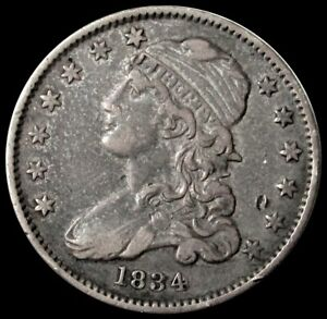 1834 SILVER UNITED STATES CAPPED BUST QUARTER 25C TYPE COIN EXTRA FINE
