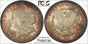 1897 $1 MORGAN PCGS MS65 CAC VAM 6A PITTED REVERSE TOP 100  COLOR