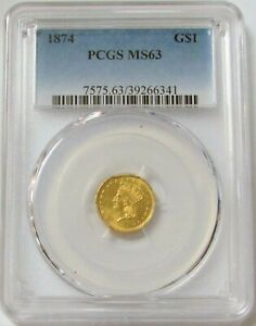 1874 GOLD $1 DOLLAR INDIAN HEAD COIN PCGS MINT STATE 63