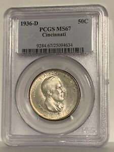 Click now to see the BUY IT NOW Price! 1936 D CINCINNATI MUSIC SILVER HALF DOLLAR 50C   PCGS MS67   $HUGE VALUE