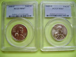 2008 P&D SACAGAWEA PCGS MS67 BUSINESS STRIKE 2 COIN DOLLAR SET