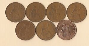 GREAT BRITAIN   UK   1961 TO 1967 PENNY   BRONZE   7 COINS   LOT A