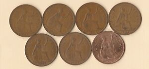 GREAT BRITAIN   UK   1961 TO 1967 PENNY   BRONZE   7 COINS   LOT B