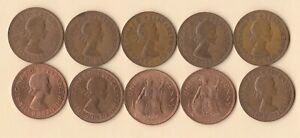 GREAT BRITAIN   UK   1967 PENNY   BRONZE   10 COINS   LOT E