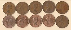 GREAT BRITAIN   UK   1967 PENNY   BRONZE   10 COINS   LOT D