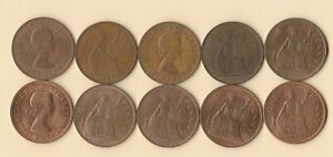 GREAT BRITAIN   UK   1967 PENNY   BRONZE   10 COINS   LOT B