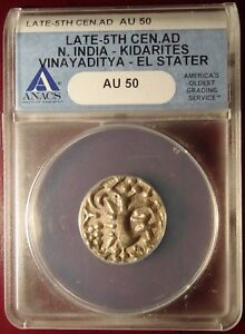 Click now to see the BUY IT NOW Price! LATE 5TH CENTURY AD N. INDIA KIDARITES VINAYADITYA EL ELECTRUM STATER ANACS AU50