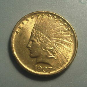 Click now to see the BUY IT NOW Price! 1907 GOLD $10 INDIAN HEAD EAGLE COIN NO MOTTO   BU
