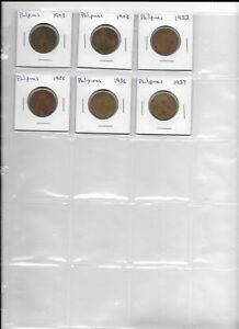 PHILIPINES LOT OF 6 COINS 1903  2  1932 1936  2  1937 1 ONE CENTAVO