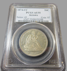 Click now to see the BUY IT NOW Price! 1874 CC CARSON CITY PCGS AU55 SEATED HALF DOLLAR ARROWS 50C