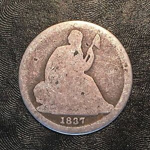 1837 NO STARS SEATED DIME   HIGH QUALITY SCANS D031