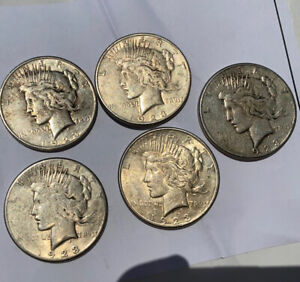 LOT OF FIVE 1923 S   PEACE SILVER DOLLAR   90  US COINS