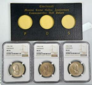 Click now to see the BUY IT NOW Price! 1936 PDS 3 PC CINCINNATI COMMEMORATIVE HALF SET ORIGINAL GOVERNMENT HOLDER NGC