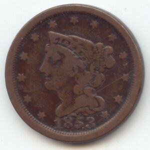 1853 BRAIDED HAIR HALF CENT NICE FINE