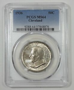 1936 CLEVELAND CENTENNIAL/GREAT LAKES EXPO COMMEMORATIVE SILVER 50C PCGS MS 64
