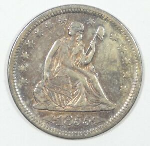 1855 LIBERTY SEATED SILVER QUARTER WITH ARROWS AT THE DATE EXTRA FINE/ALMOST UNC