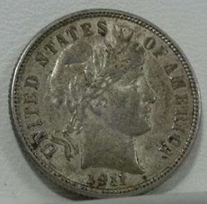 1911 D BARBER DIME ALMOST UNCIRCULATED SILVER 10C